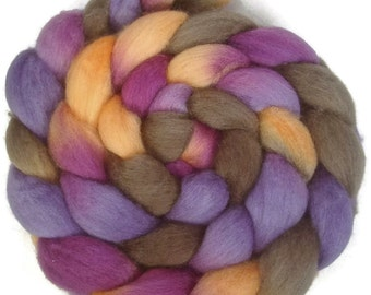 Handpainted BFL Wool Roving - 4 oz. CROCUS - Spinning Fiber