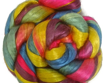 Handpainted Bombyx Silk Roving - 2 oz. ARCADE - Spinning Fiber