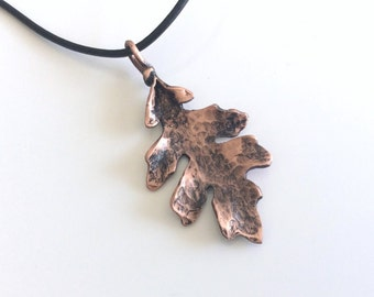 Hand hammered Copper Oak Leaf on an 18 inch black leather necklace - made to order