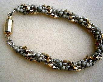 Spiral Pattern Beaded Bracelet with Magnetic Clasp, Clearance Sale OOAK, Willow Glass