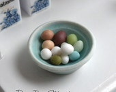 Bowl of Exotic Chicken Eggs - Dollhouse Miniature Food - Supplies - Easter Eggs