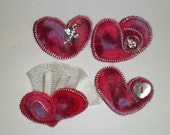 Handmade Felted One of Kind Heart Brooches