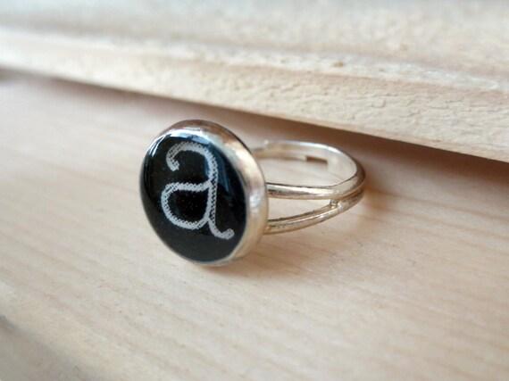 Monogram Initial Adjustable Silver Ring Typewriter Resin Cameo Ring Ring Bridesmaid Gift  Wedding Bridal Party Engagement Personalized