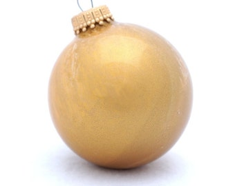 """Gold Christmas Ball Glass Ornament Painted Inside 2-3/4"""" Round Holiday Home Tree Decor"""