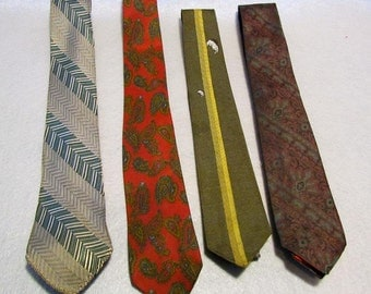 4 Vintage Ties - Green, Gold and Maroon REDUCED