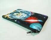 Galaxy Print Clutch, Zipper Pouch, Cosmetics Bag, iPhone Case