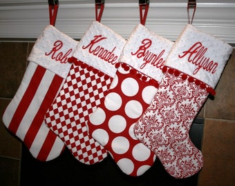 Red Christmas Stockings, Red and White Christmas Stockings,Embroidered Christmas Stockings,Handmade Christmas Stockings,Christmas Stockings