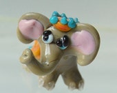 Lucky Happy Elephant Lampwork Glass Beads by Marcy Lamberson