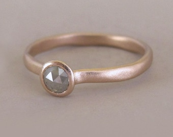River Engagement Ring in 14k Rose Gold with Raw Gray Rose Cut Diamond - Size 6.75