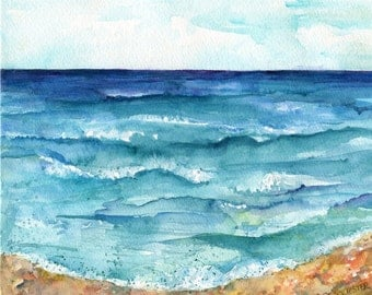 Beach painting, Seascape Original Watercolor Painting, watercolors paintings original  beach, ocean art watercolor, beach decor, marine art
