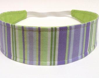 Headband for Girls, Child's, Children's Headband  - Lavendar & Lime Green Stripes  -   Reversible Fabric Headband - AVA