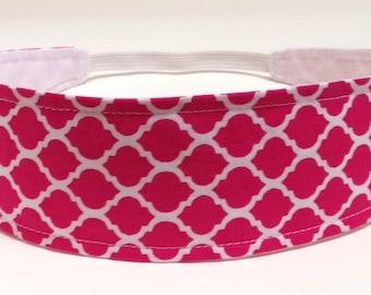 Headband Reversible Fabric  - Fuchsia, Hot Pink, White, Quatrefoil, Moroccan, Lattice   -  Headbands for Women - FUCHSIA PINK QUATREFOIL