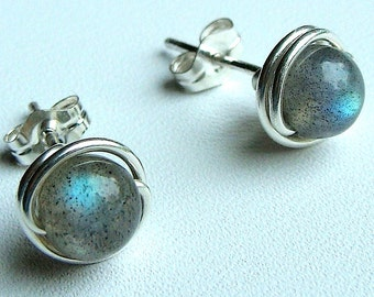 Labradorite Studs Labradorite Earrings 5mm Wire Wrapped in Sterling Silver Stud Earrings Labradorite Post Earrings