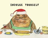 Jabba The Hut Double-Sided Holiday Postcard by Caryn Cast