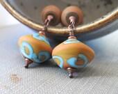 Copper Earrings, Glass Earrings, Terra Cotta Glass, Earthy Jewelry, Copper Jewelry, Beaded Earrings, Glass Jewelry, Aqua Swirls