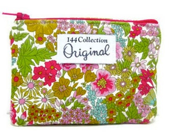 Margaret Annie Liberty of London Fabric Wallet, Green Wallet, Small Floral Wallet, Change Wallet, Coin Purse, Change Purse, Fabric Pouch