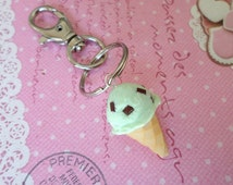Miniature Food Keychain: Mint Chip Ice Cream Keychain, Polymer Clay Food Keychain, Food Key Ring