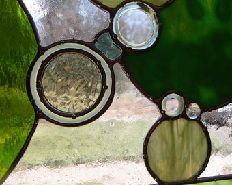 Stained Glass Window - Bubbles and Circles in Green Art Glass