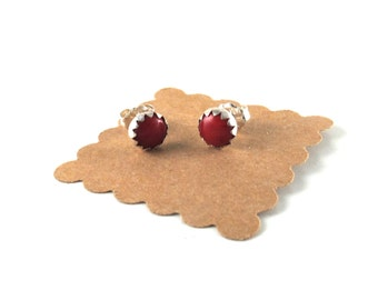 Sterling Silver Gemstone Stud Earrings - your choice of stone