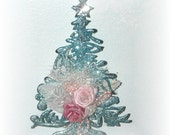 Blue Christmas Tree Ornament Glittered Roses Shabby Cottage Chic