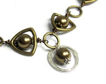 Bi Metal. Brass, Sterling Silver Swarovski Pearl Necklace