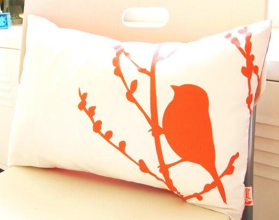 Orange on Off White Cotton Bird on Cherry Blossom Pillow