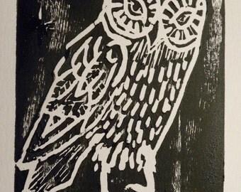 Owl Linocut Print on Acid Free Mixed Media Paper