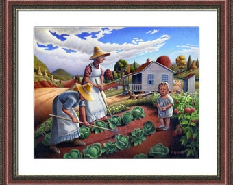 Family Garden Appalachian country farm landscape framed and matted print. americana decor, Appalachia folk art