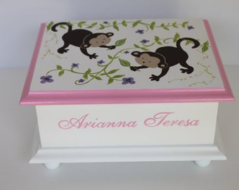 Baby keepsake box Monkey Baby Keepsake Memory Box personalized hand painted baby girl gift