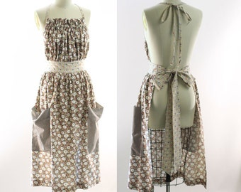 Very Long Traditional Gathered Bib Apron in Black Floral