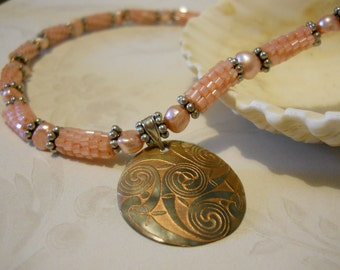 Peachy Beaded Bead Necklace With Carved Shell Pendant; Peyote Stitch
