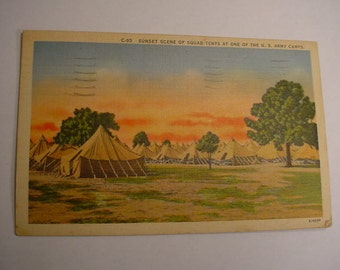 1942 linen used postcard Sunset Scene of Squad Tents U.S. Army Camp