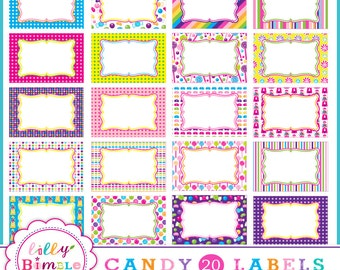 60% off Candy Labels, frames, 20 png candyland labels for birthday party printables digital download