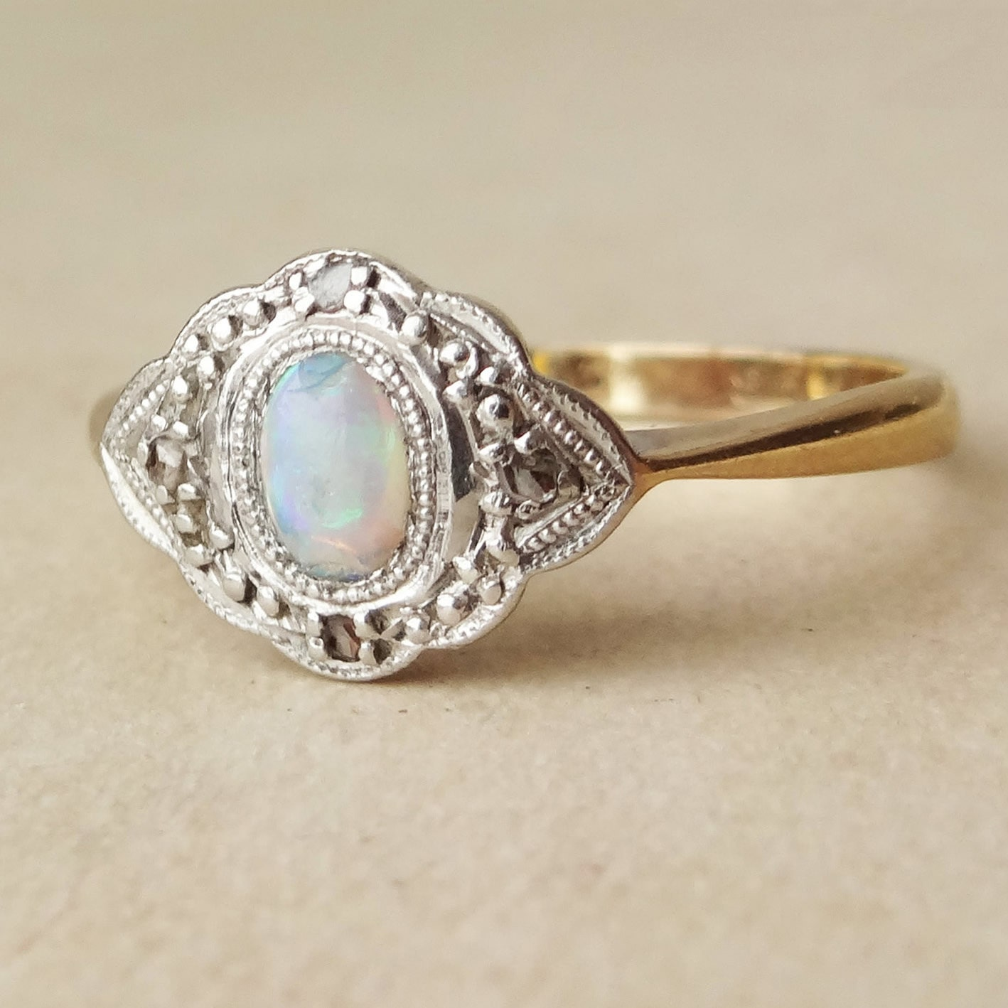 Opal Engagement Rings: Art Deco Fiery Opal Diamond And 9k Gold Engagement Ring