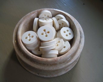 button chunky chalky white set of 30