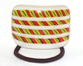 Glass Ponytail Holder, Red, Yellow, Black and White Fused Glass, Handmade Hair Accessories