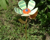 Hand Painted Fused Glass Garden Stake