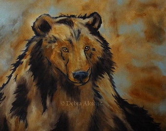 Bear Sitting Original Oil Painting Wildlife Animal Portrait Abstract Kids Nursery Room by Artist Debra Alouise