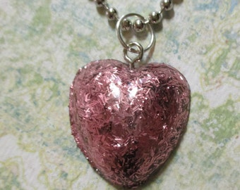 PInk Tinsel Heart Necklace