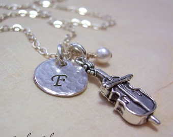 Personalized Cello Charm Necklace, Hand Stamped Initial Jewelry, Sterling Silver Cello Charm Necklace, Cello Player Gift