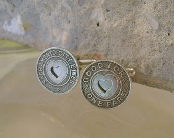 Mon Amour - Authentic Vintage Sacramento California Transit Tokens Recycled Cufflinks, Man Gift, Mens Gift, Groomsman Gift, Wedding Gift