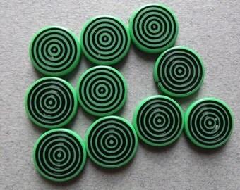 Vintage green op art beads
