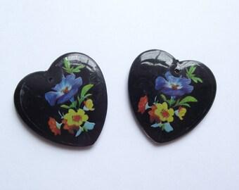 Vintage black plastic heart pendant