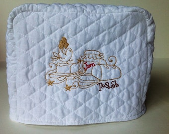 2-Slice Toaster Cover - Quilted White Toaster Cover with Machine Embroidered Design
