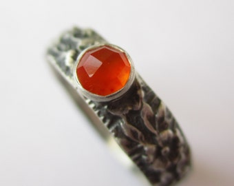 Limited Edition - Flower Garden - Rose Cut Carnelian - Fine and Sterling Silver Ring -RED/Orange glowing stone