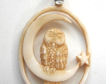 MS Carved Cow Bone Pendant Tea Stained Owl on Crescent Moon with Star  Bali Fair Trade