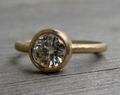 Moissanite Yellow Gold Engagement, Wedding, or Right Hand Ring - Forever Brilliant - Recycled - Eco-Friendly - Conflict-Free - Made To Order