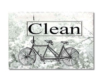 Bicycle for two Dishwasher magnet Clean Dirty dishes Flip Sign Vintage Tandem bike NOW Stainless Steel Option