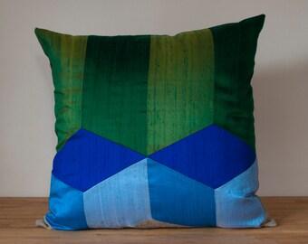 "Tumbling Blocks Throw Pillow in Cool - 20"" Color Block Pillow - Optical Illusion HUGE SALE!"
