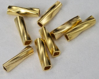 6mm Gold Twist Tube Bead #MBC072